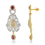 2.64ct. simulated ruby earrings set with diamond in designer earrings