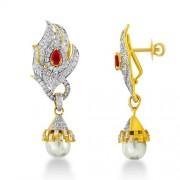 16.36ct. simulated ruby earrings set with diamond in designer earrings