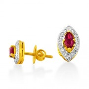 1.39ct. ruby earrings set with diamond in traditional earrings