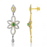 0.51ct. simulated emerald earrings set with diamond in designer earrings
