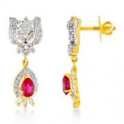1.2ct. simulated ruby earrings set with diamond in fancy earrings