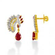4.49ct. ruby earrings set with diamond in designer earrings