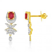 2.12ct. simulated ruby earrings set with diamond in fancy earrings