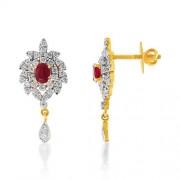 1.14ct. simulated ruby earrings set with diamond in fancy earrings
