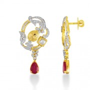 3.22ct. simulated ruby earrings set with diamond in fusion earrings
