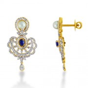 4.295ct. simulated sapphire earrings set with diamond in designer earrings