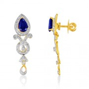 2.76ct. simulated sapphire earrings set with diamond in designer earrings