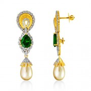 27.47ct. simulated emerald earrings set with diamond in designer earrings