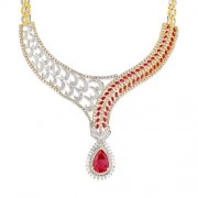 17.46ct. ruby necklace set with diamond in designer necklace