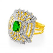 0.95ct. simulated emerald ring set with diamond in cocktail ring