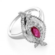 0.3ct. ruby ring set with diamond in cocktail ring