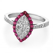 0.65ct. ruby ring set with diamond in casual ring