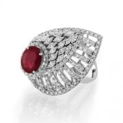 2.83ct. simulated ruby ring set with diamond in cocktail ring