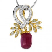 20.49ct. ruby pendant set with diamond in designer pendant
