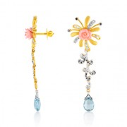 3.49ct. coral earrings set with diamond in designer earrings