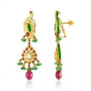 1ct. semi precious earrings set with diamond in jadau earrings