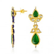 Jadau Earrings set with 1.5cts. Diamonds and Semi Precious Stones