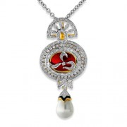 4.5ct. pearl pendant set with diamond in designer pendant