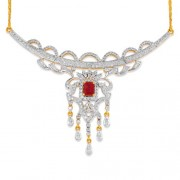 0.96ct. simulated ruby necklace set with diamond in fancy necklace