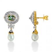 8.5ct. pearl earrings set with diamond in designer earrings
