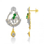 1.3ct. simulated emerald earrings set with diamond in designer earrings
