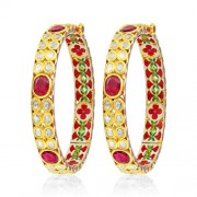 Jadau Bangles set with 10cts. Diamonds and Garnet