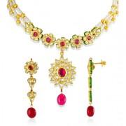 Jadau Necklace set with 2.9cts. Diamonds and Garnet