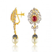 24.3ct. ruby earrings set with diamond in fusion earrings