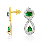 2.43ct. simulated emerald earrings set with diamond in designer earrings