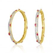 Ruby Bangles set with 2.47 ct. diamonds and 6.13ct. Ruby made in 18kt. gold.