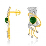 1.99ct. emerald earrings set with diamond in traditional earrings