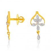 0.13ct. diamond earrings set with diamond in drop earrings