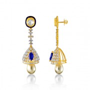 36.01ct. simulated sapphire jhumki set with diamond in fusion jhumki