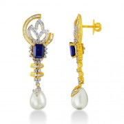 Sapphire Earrings set with 2.5 ct. and 22.49ct. Simulated Sapphire.