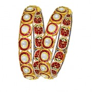 Jadau Bangles set with 12.9cts. Diamonds and Ruby