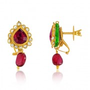 Jadau Earrings set with 1cts. Diamonds and Garnet