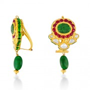 Jadau Earrings set with 0.68cts. Diamonds and Emerald