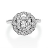Diamond ring set with 0.52 ct. diamonds handmade in 18ct. white gold.
