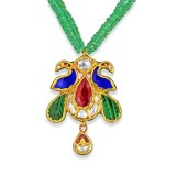 Jadau Pendant set with 1cts. Diamonds and Precious Stones made in 22kt. Gold.