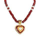 Jadau Pendant set with 0.4cts. Diamonds and Garnet made in 22kt. Gold.