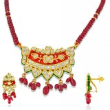 Jadau Pendant set with 2.96 ct. diamond and 90ct. Semi Precious stones made in 22kt. gold.